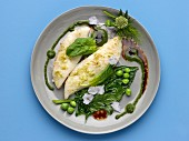 John Dory fillets with greens