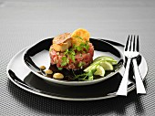 Tuna tartare with pan-fried foie gras and Comté tuile