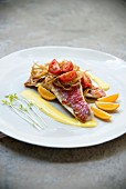 Red mullet fillets with honey and onions, tomatoes and kumquat coulis