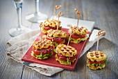 Tomato, raw ham and lettuce mini waffle sandwiches