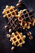 Plain waffle Liègeois and chocolate-hazelnut Liègeois