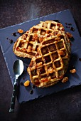 French toast waffle with raisins and caramel
