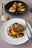 Grilled steak, sweet potato mash and grilled peppers and cod fillet with spring vegetables, sweet potato mash and parsnips