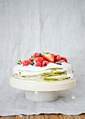 Green Matcha tea and summer fruit pancake layer cake