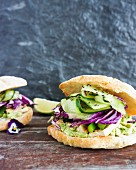 Tofu, cucumber and red cabbage vegetarian sandwich