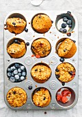Turmeric and blueberry muffins in their moulds
