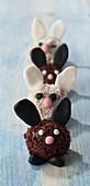 Row of rabbit-shaped Easter chocolate truffles