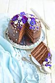 Dunkler Schokoladen-Layer Cake mit Krokant zu Ostern, angeschnitten
