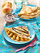 Crêpe with pears,chocolate and Planta Fin