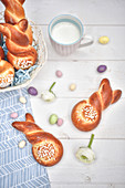 Rabbit-shaped Easter sugar brioche