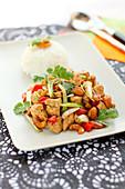 Thai-style spicy chicken sauté with cashews