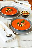 Tomato and panzanella cold soup