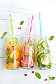 Assortment of detox waters