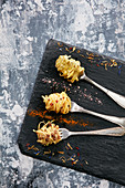 Seasoned and truffle pasta amuse-bouche