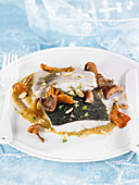 Turbot suprême with cava and pan-fried mushrooms