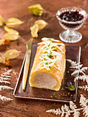 Pork fillet in flaky pastry crust and topped with apple sticks