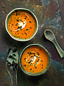 Cream of vegetable soup with black trumpet mushrooms