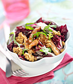Thinly sliced chicken, radicchio lettuce,crushed walnut and Roquefort crumb salad