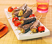 Beef and Comté brochettes with pan-fried cherry tomatoes