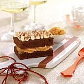 Dark chocolate Financier, toffee cream and chocolate mousse dessert