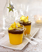 Mango mousse topped with chocolate cream