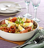 Potato,Chicory,Mushroom,Bayonne Ham And Hard-Boiled Egg Salad