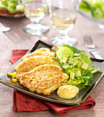Sweet corn fritters and Mexican salad