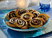 Bacon-tomato Palmiers and herb-mushroom Palmiers
