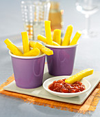 Polenta chips and tomato sauce