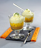 Shortbread crumbs, diced mango and lemon and lime mousse desserts
