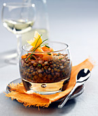 Lentil salad with smoked trout
