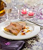 Slices of dried fruit foie gras