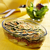 Ground beef,courgette and potato gratin