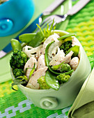 Chicken fricassée with tarragon and crisp green vegetables