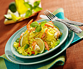Tagliatelles with shrimps and lime
