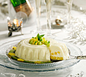 Pineapple and kiwi blancmange