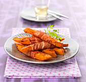 Sweet potato chips wrapped in bacon