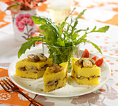Polenta and button mushroom appetizers