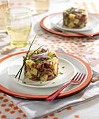 Parmentier-style confit de canard and potato timbale