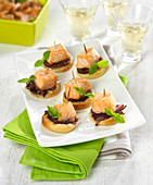 Stewed red onion and salmon cube flaky pastry appetizers