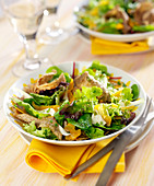 Crisp salad with flaked crêpes, fennel and mimolette