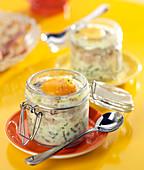 Shirred egg with tuna in a jar