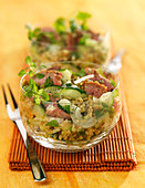 Beef,cucumber and cereal salad