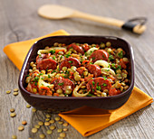 Light brown lentils with chorizo