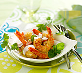 Curried shrimps with coconut and lime