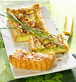 Fromage frais, herb and smoked raw ham flaky pastry quiche