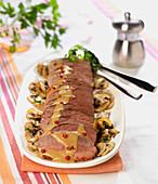 Magret de canard,creamy Cognac and pink pepper sauce, pan-fried button mushrooms