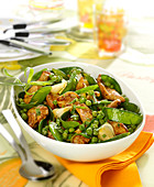 Turkey, pea, spring onion, sweet pea and tarragon stir-fry