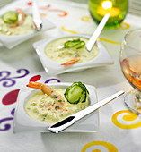 Cucumber and turmeric raita with shrimps