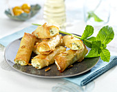 Feta, pine nut and mint crisp pastry cigars